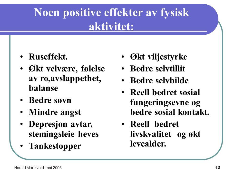Harald Munkvold mai 200611 Noen positive effekter av rusmidler: Ruseffekt. Økt velvære, følelse av ro,avslappethet, balanse Bedre søvn Mindre angst De