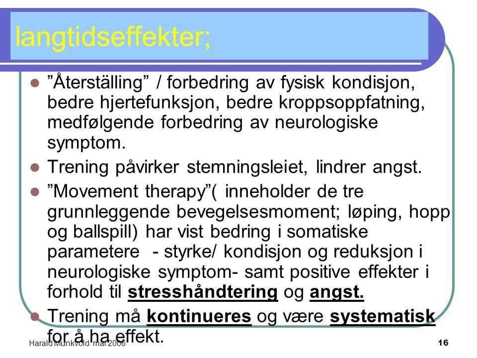 Harald Munkvold mai 200615 abstinens; Fysisk aktivitet lindrer somatiske abstinenssymptom og er angstdempende. Flere studier har vist signifikant redu