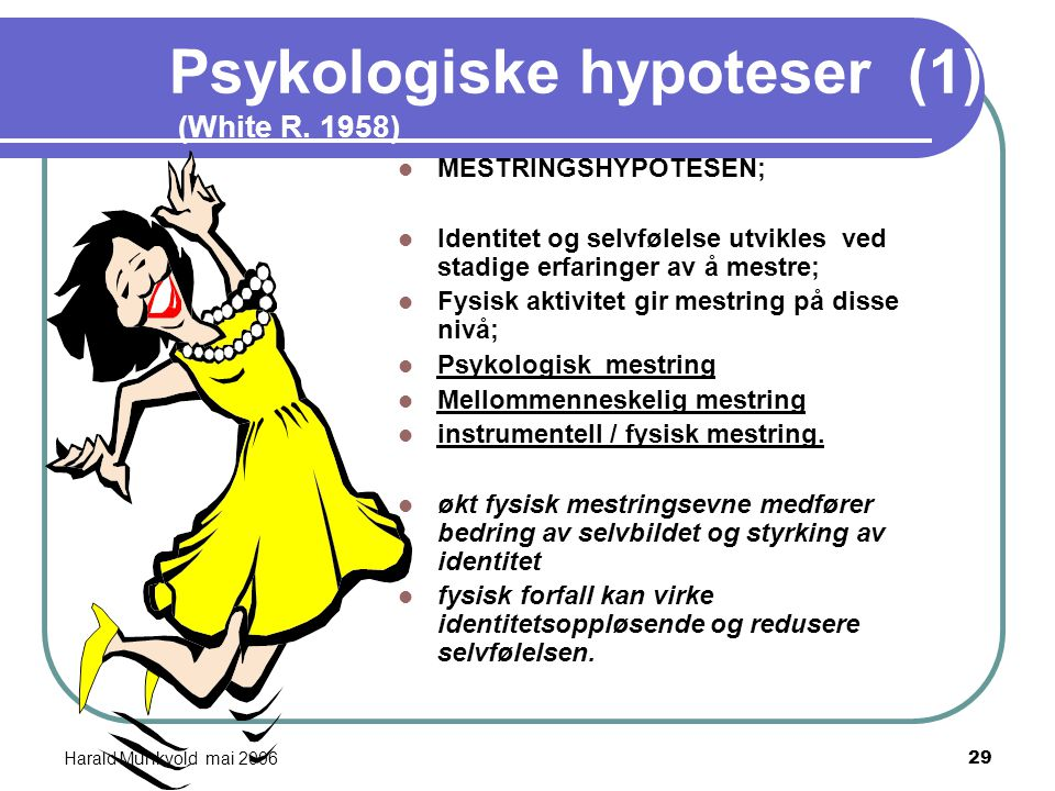 Harald Munkvold mai 200628 Biokjemiske hypoteser (2) MONOAMIN- HYPOTESEN; Ved depresjoner er hjernens innhold av monoaminer senket. (serotonin,noradre