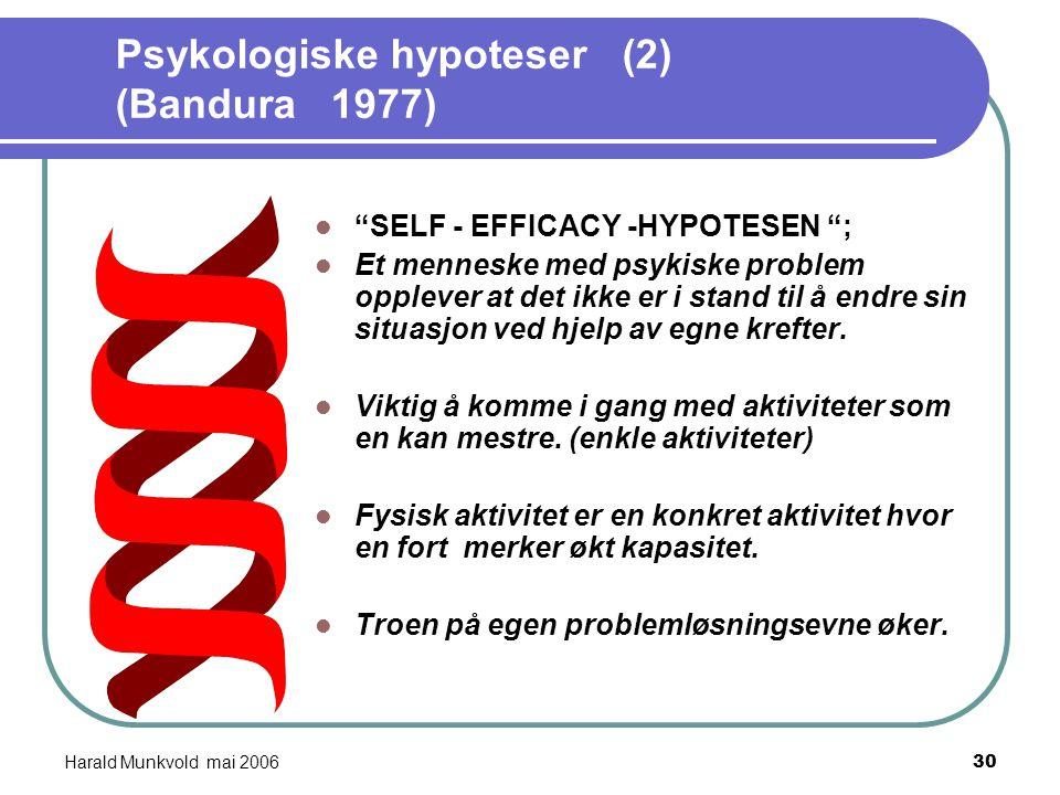 Harald Munkvold mai 200629 Psykologiske hypoteser (1) (White R. 1958) MESTRINGSHYPOTESEN; Identitet og selvfølelse utvikles ved stadige erfaringer av