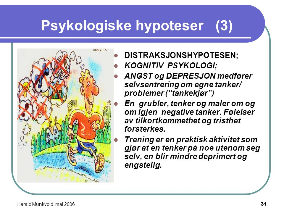 """Harald Munkvold mai 200630 Psykologiske hypoteser (2) (Bandura 1977) """"SELF - EFFICACY -HYPOTESEN """"; Et menneske med psykiske problem opplever at det i"""