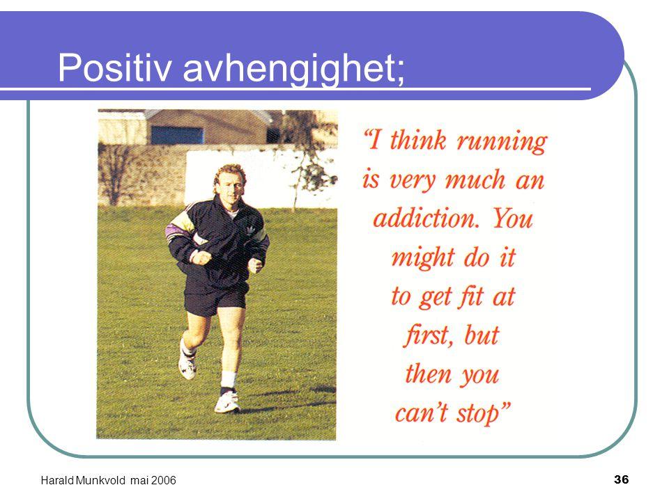 Harald Munkvold mai 200635 Psykologiske hypoteser (6) AVHENGIGHETS-HYPOTESEN; (Glasser) Man kan mestre sine psykiske plager ved å utvikle positiv avhe