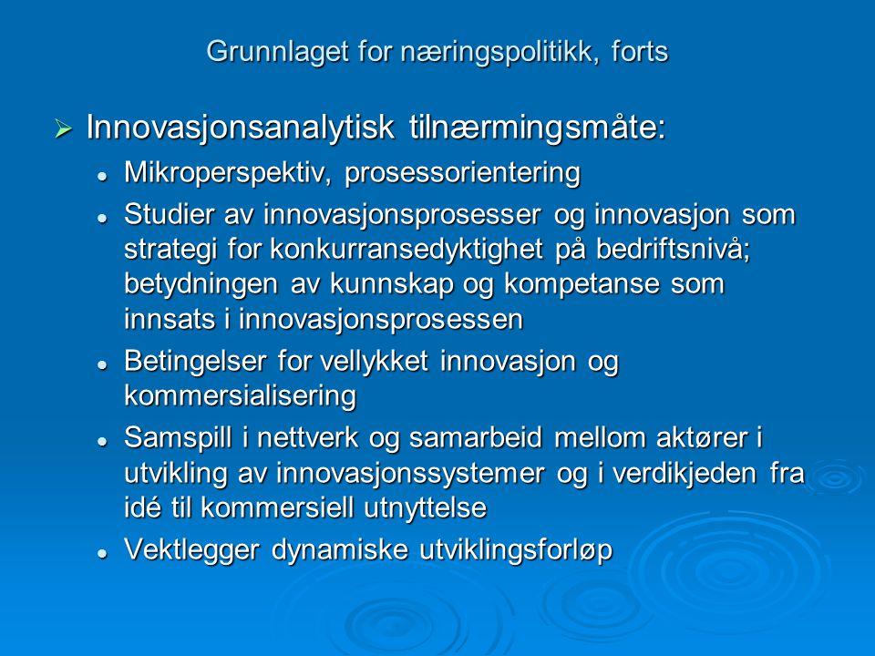 Grunnlaget for næringspolitikk, forts  Innovasjonsanalytisk tilnærmingsmåte: Mikroperspektiv, prosessorientering Mikroperspektiv, prosessorientering Studier av innovasjonsprosesser og innovasjon som strategi for konkurransedyktighet på bedriftsnivå; betydningen av kunnskap og kompetanse som innsats i innovasjonsprosessen Studier av innovasjonsprosesser og innovasjon som strategi for konkurransedyktighet på bedriftsnivå; betydningen av kunnskap og kompetanse som innsats i innovasjonsprosessen Betingelser for vellykket innovasjon og kommersialisering Betingelser for vellykket innovasjon og kommersialisering Samspill i nettverk og samarbeid mellom aktører i utvikling av innovasjonssystemer og i verdikjeden fra idé til kommersiell utnyttelse Samspill i nettverk og samarbeid mellom aktører i utvikling av innovasjonssystemer og i verdikjeden fra idé til kommersiell utnyttelse Vektlegger dynamiske utviklingsforløp Vektlegger dynamiske utviklingsforløp