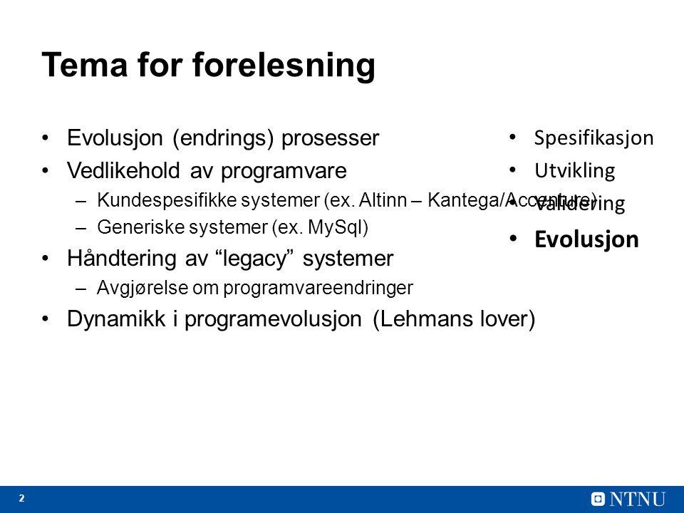 23 System re-engineering Re-engineering = forbedre design og kode uavhengig av endringsforespørsler Legacy/arv = noe som er levert av eller mottatt fra en forgjenger eller fra fortiden Legacy system = gammel programvare / metode