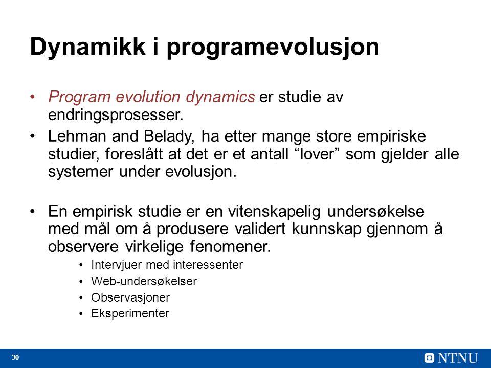 30 Dynamikk i programevolusjon Program evolution dynamics er studie av endringsprosesser. Lehman and Belady, ha etter mange store empiriske studier, f