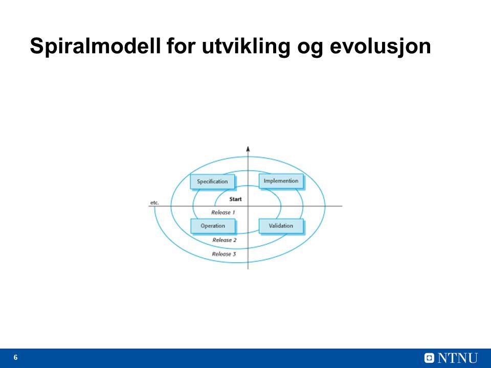 7 Evolusjon: Steget i livssyklusen hvor systemet er i operasjonell bruk og utvikler seg etter hvert som nye krav blir foreslått og implementer i systemet.