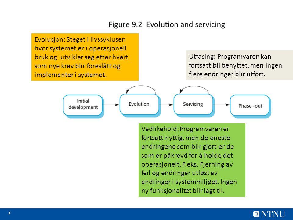 8 Evolusjonsprosesser Evolusjonsprosesser avhenger av –Typen programvare som skal vedlikeholdes; –Utviklingsprosess som er benyttet; –Dyktighet og erfaring på de involverte.