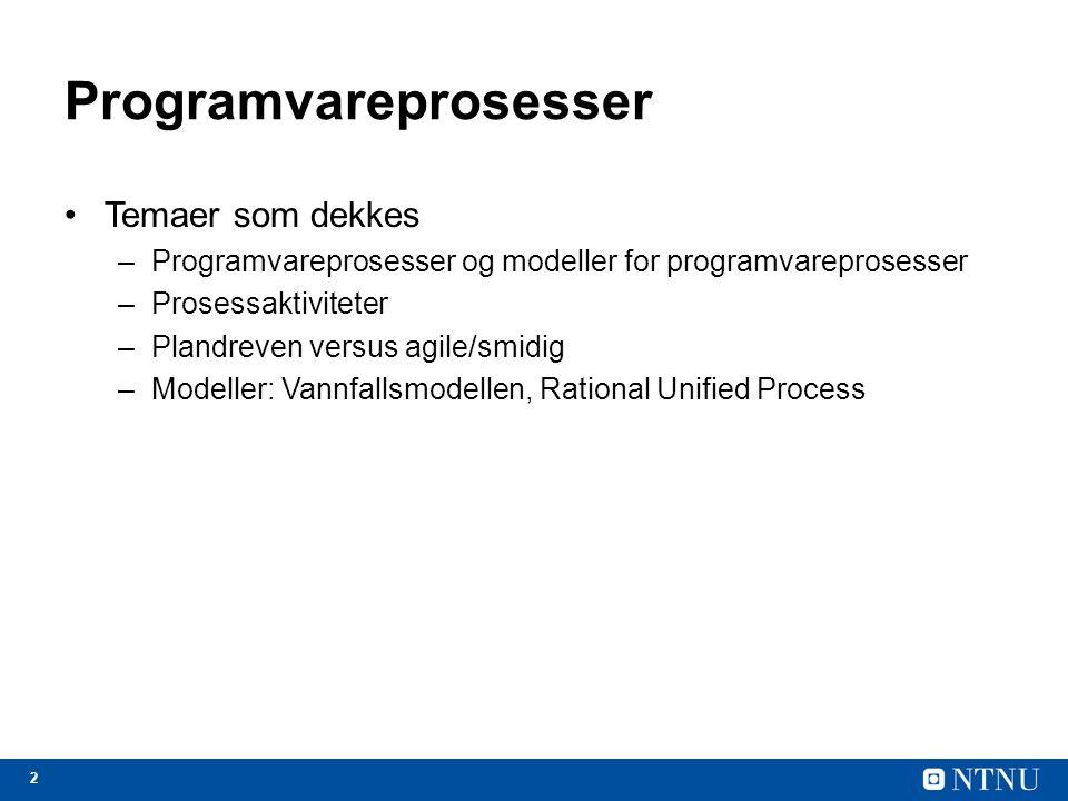 Design og implementering av programvare Fra spesifikasjon til et fungerende software system.
