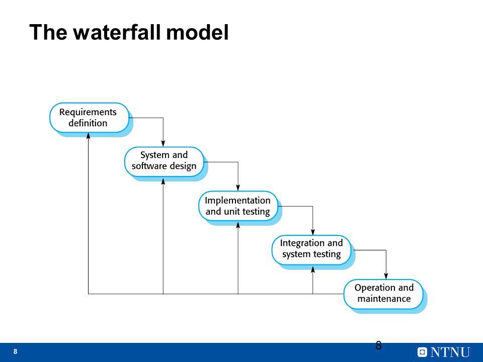 19 Nøkkelpunkter Modeller og prosesser Planlegging og inkrementell planlegging Requirements engineering = Utvikle en spesifikasjon for en programvare/forretningsbehov.