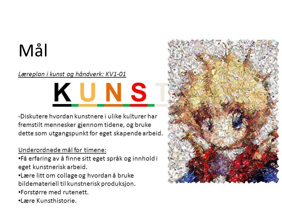 Mål Læreplan i kunst og håndverk: KV1-01 -Diskutere hvordan kunstnere i ulike kulturer har fremstilt mennesker gjennom tidene, og bruke dette som utga