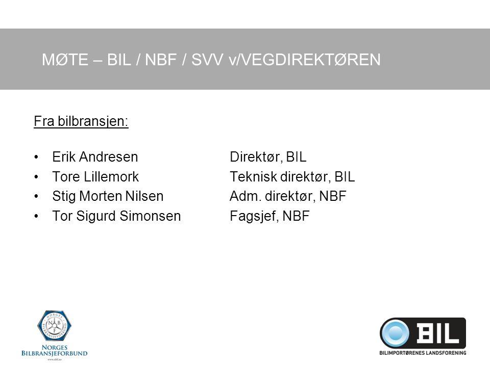 MØTE – BIL / NBF / SVV v/VEGDIREKTØREN Fra bilbransjen: Erik AndresenDirektør, BIL Tore LillemorkTeknisk direktør, BIL Stig Morten NilsenAdm.