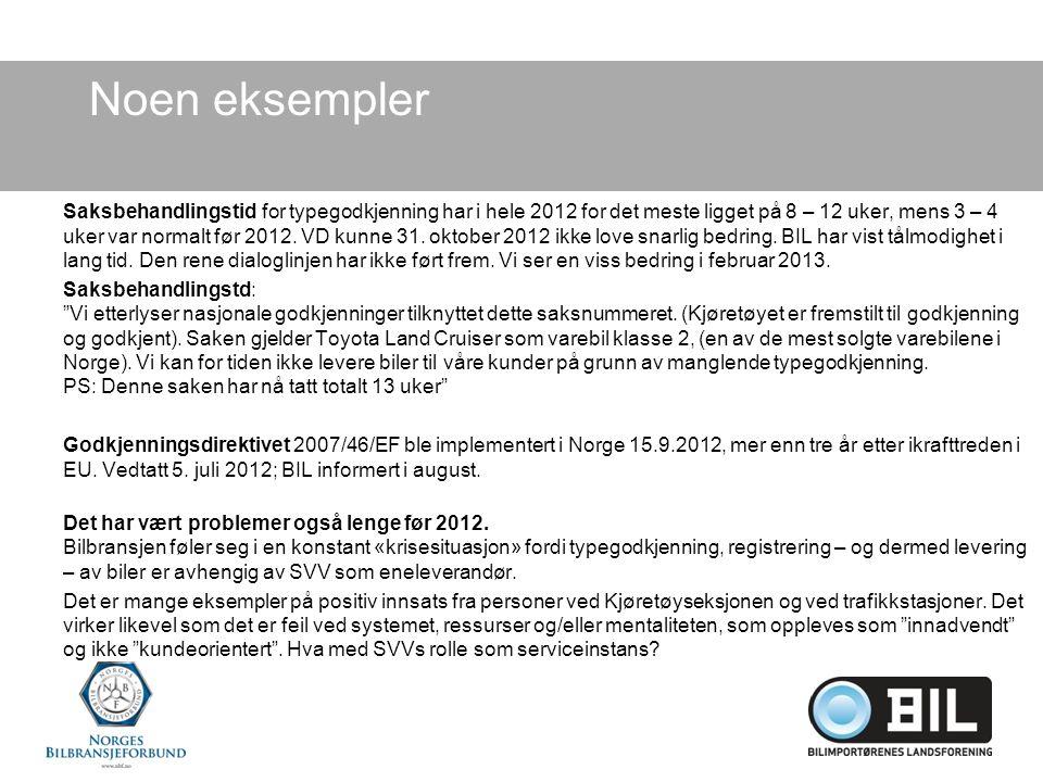 Noen eksempler Saksbehandlingstid for typegodkjenning har i hele 2012 for det meste ligget på 8 – 12 uker, mens 3 – 4 uker var normalt før 2012.