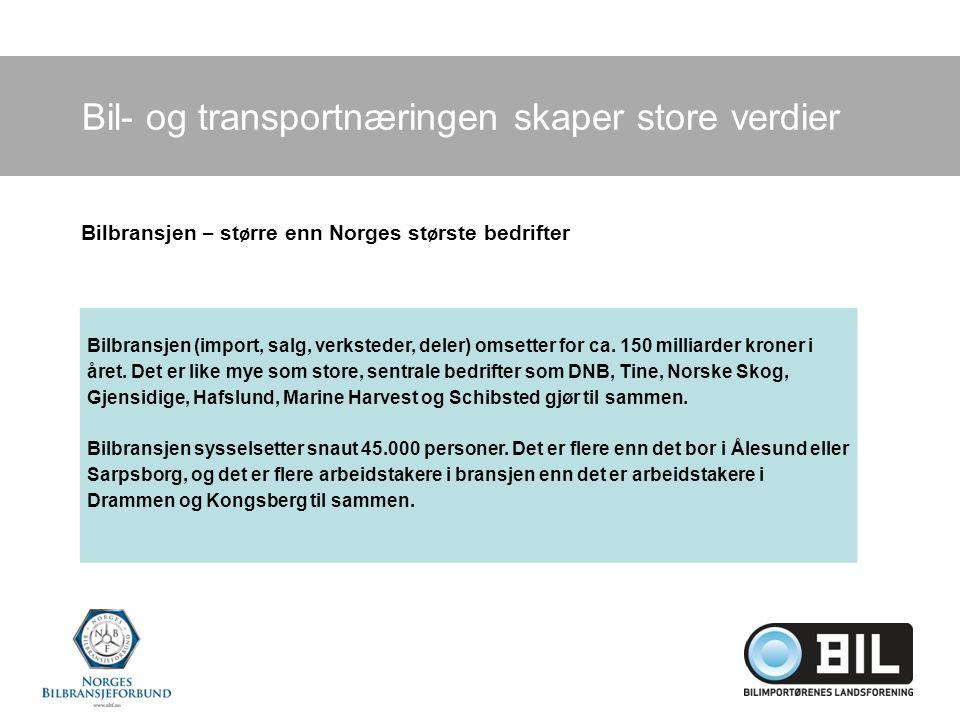 Bil- og transportnæringen skaper store verdier Bilbransjen (import, salg, verksteder, deler) omsetter for ca.