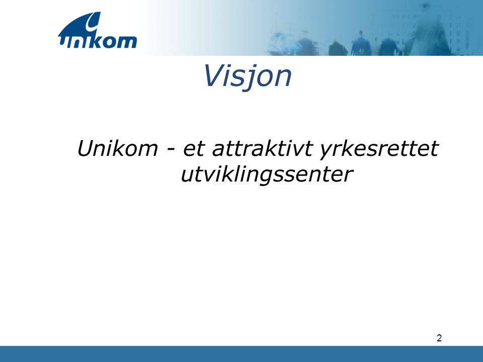 3 Forretningsid'e Unikom skal være et attraktivt yrkesrettet utviklingssenter, som skal drive avklaring, oppfølging, kvalifisering og formidling av arbeidssøkere.