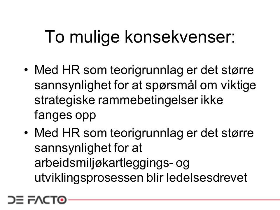 To mulige konsekvenser: Med HR som teorigrunnlag er det større sannsynlighet for at spørsmål om viktige strategiske rammebetingelser ikke fanges opp M