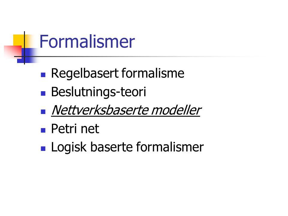 Formalismer Regelbasert formalisme Beslutnings-teori Nettverksbaserte modeller Petri net Logisk baserte formalismer
