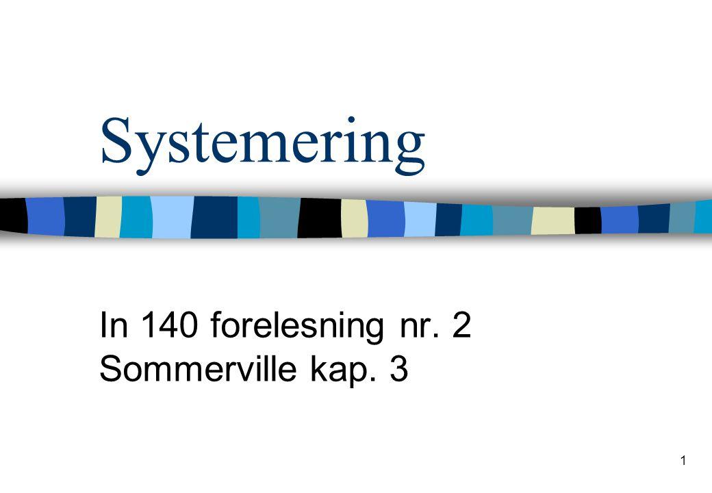 1 Systemering In 140 forelesning nr. 2 Sommerville kap. 3