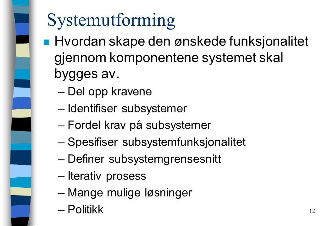 12 Systemutforming n Hvordan skape den ønskede funksjonalitet gjennom komponentene systemet skal bygges av.