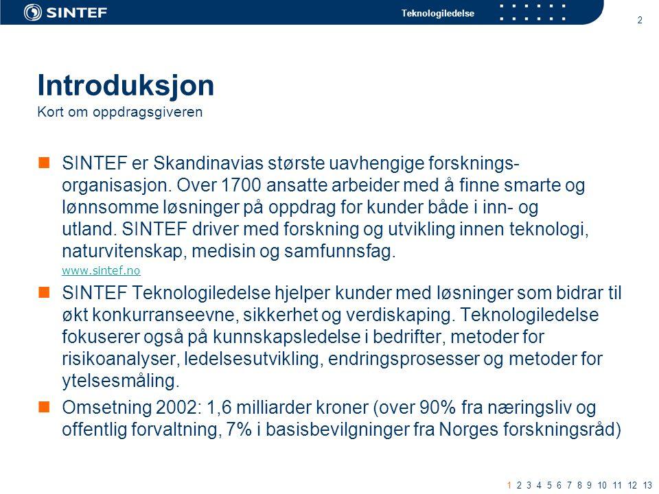 Teknologiledelse 2 Introduksjon Kort om oppdragsgiveren SINTEF er Skandinavias største uavhengige forsknings- organisasjon.