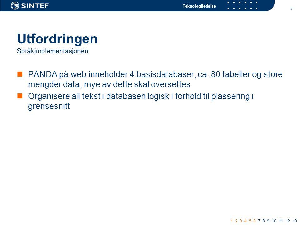 Teknologiledelse 7 Utfordringen Språkimplementasjonen PANDA på web inneholder 4 basisdatabaser, ca.