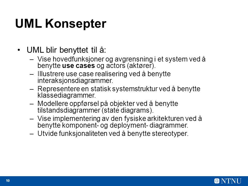 10 UML Konsepter UML blir benyttet til å: –Vise hovedfunksjoner og avgrensning i et system ved å benytte use cases og actors (aktører). –Illustrere us