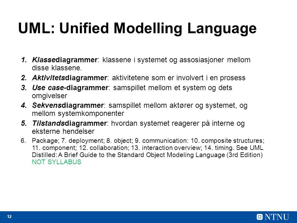 12 UML: Unified Modelling Language 1.Klassediagrammer: klassene i systemet og assosiasjoner mellom disse klassene. 2.Aktivitetsdiagrammer: aktiviteten