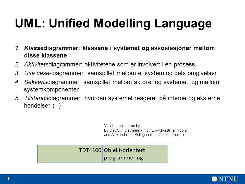 17 UML: Unified Modelling Language 1.Klassediagrammer: klassene i systemet og assosiasjoner mellom disse klassene 2.Aktivitetsdiagrammer: aktivitetene