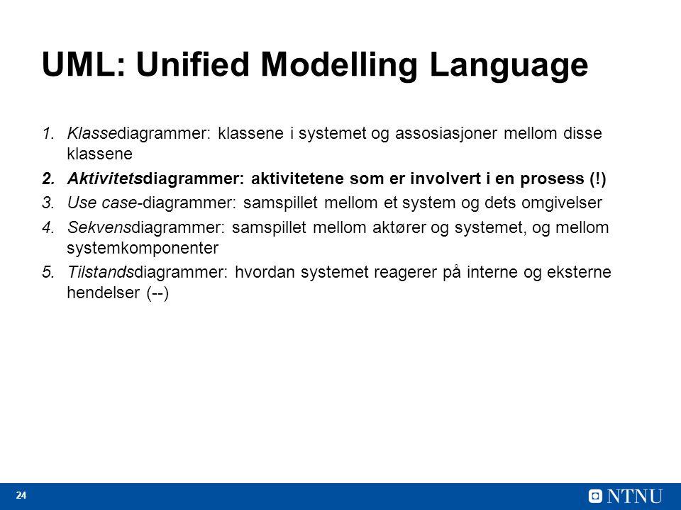 24 UML: Unified Modelling Language 1.Klassediagrammer: klassene i systemet og assosiasjoner mellom disse klassene 2.Aktivitetsdiagrammer: aktivitetene