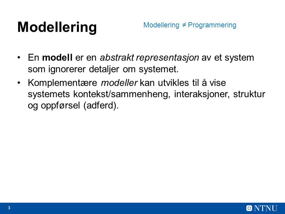 24 UML: Unified Modelling Language 1.Klassediagrammer: klassene i systemet og assosiasjoner mellom disse klassene 2.Aktivitetsdiagrammer: aktivitetene som er involvert i en prosess (!) 3.Use case-diagrammer: samspillet mellom et system og dets omgivelser 4.Sekvensdiagrammer: samspillet mellom aktører og systemet, og mellom systemkomponenter 5.Tilstandsdiagrammer: hvordan systemet reagerer på interne og eksterne hendelser (--)
