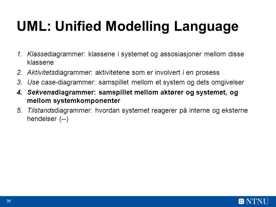 31 UML: Unified Modelling Language 1.Klassediagrammer: klassene i systemet og assosiasjoner mellom disse klassene 2.Aktivitetsdiagrammer: aktivitetene