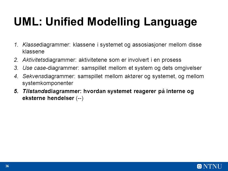 36 UML: Unified Modelling Language 1.Klassediagrammer: klassene i systemet og assosiasjoner mellom disse klassene 2.Aktivitetsdiagrammer: aktivitetene