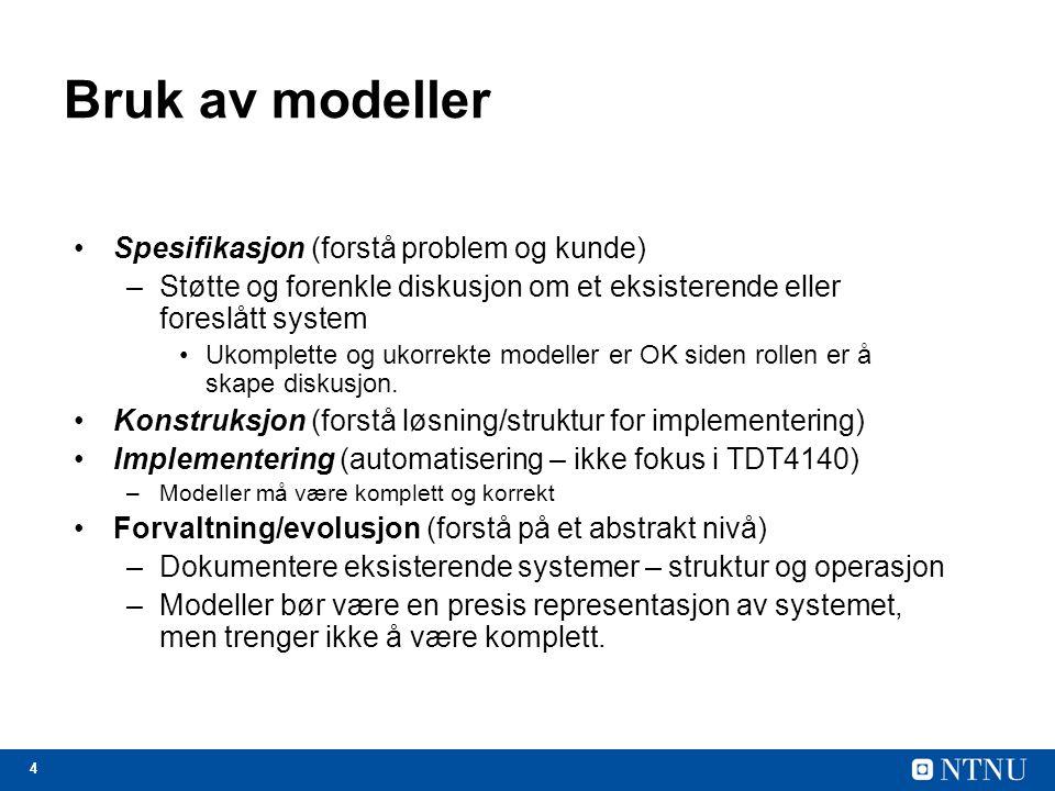 4 Bruk av modeller Spesifikasjon (forstå problem og kunde) –Støtte og forenkle diskusjon om et eksisterende eller foreslått system Ukomplette og ukorr