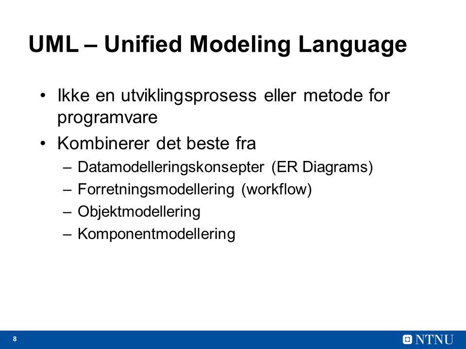 8 UML – Unified Modeling Language Ikke en utviklingsprosess eller metode for programvare Kombinerer det beste fra –Datamodelleringskonsepter (ER Diagr