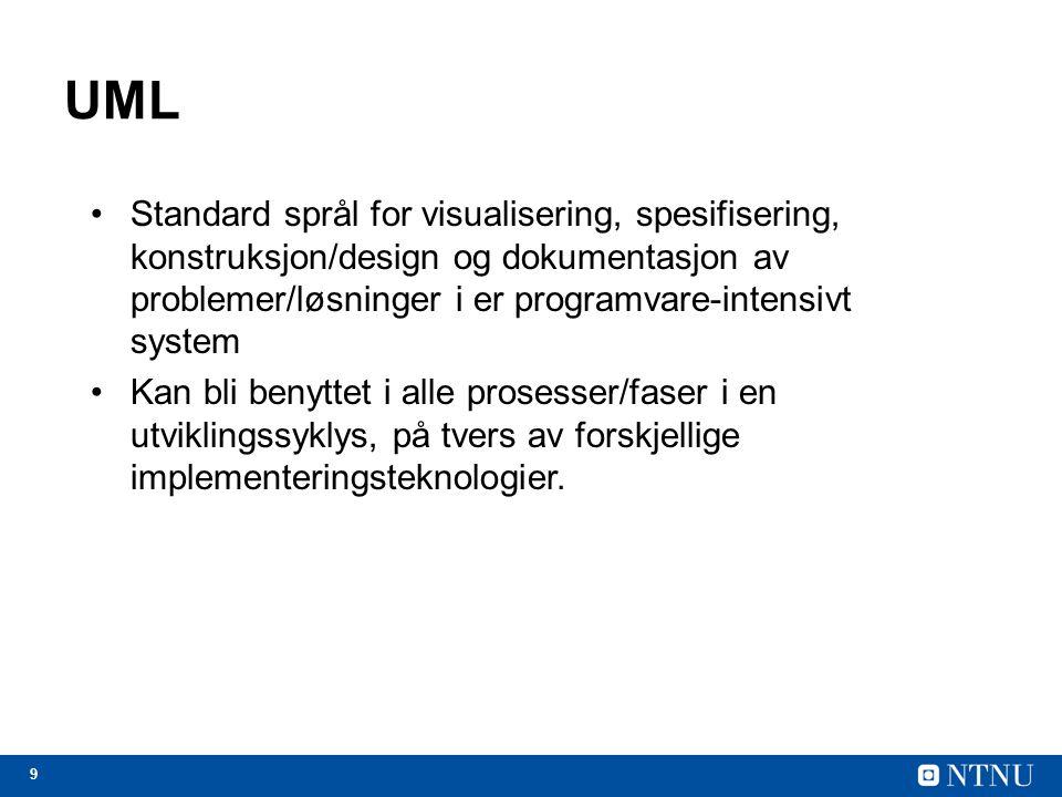 9 UML Standard språl for visualisering, spesifisering, konstruksjon/design og dokumentasjon av problemer/løsninger i er programvare-intensivt system K