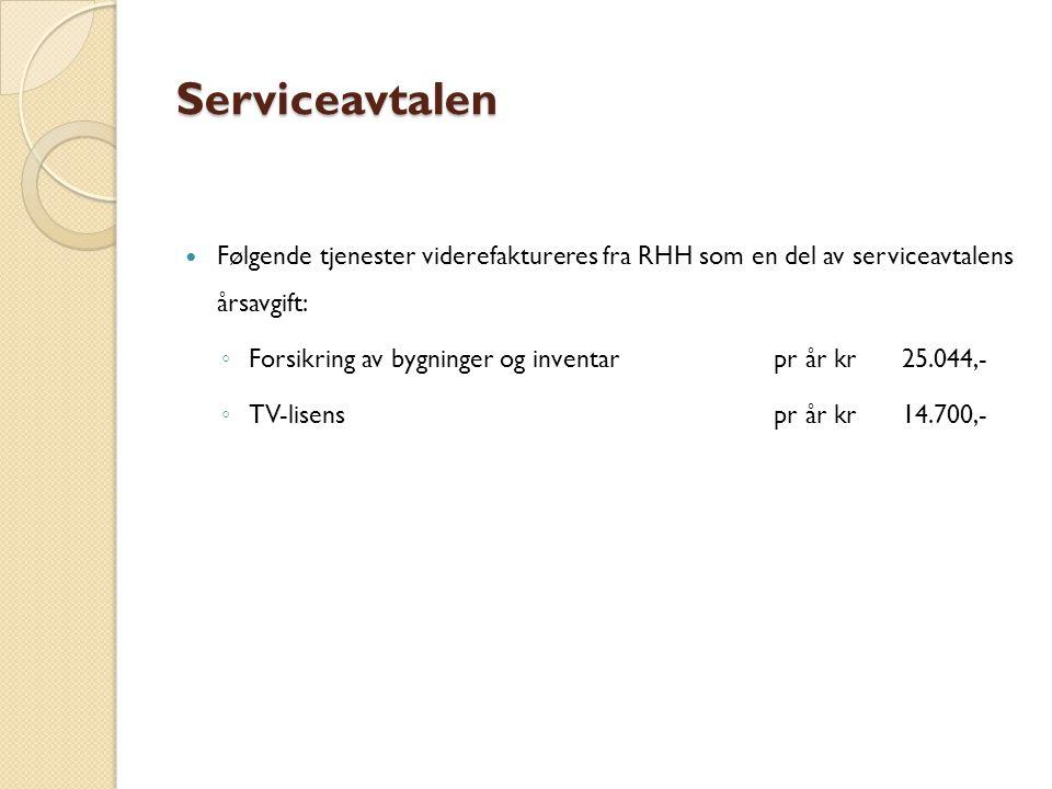 Serviceavtalen Følgende tjenester viderefaktureres fra RHH som en del av serviceavtalens årsavgift: ◦ Forsikring av bygninger og inventarpr år kr25.044,- ◦ TV-lisenspr år kr14.700,-