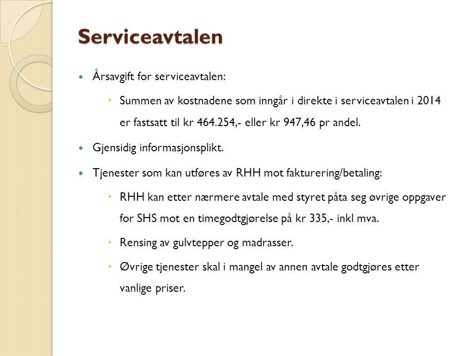 Serviceavtalen Årsavgift for serviceavtalen:  Summen av kostnadene som inngår i direkte i serviceavtalen i 2014 er fastsatt til kr 464.254,- eller kr 947,46 pr andel.