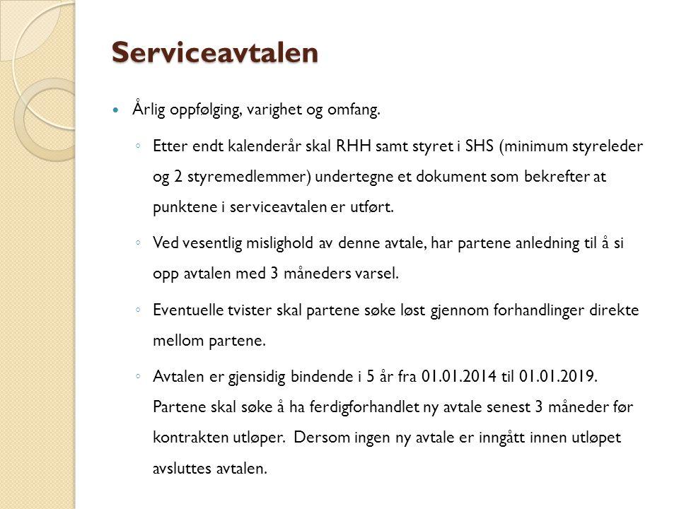 Serviceavtalen Årlig oppfølging, varighet og omfang.