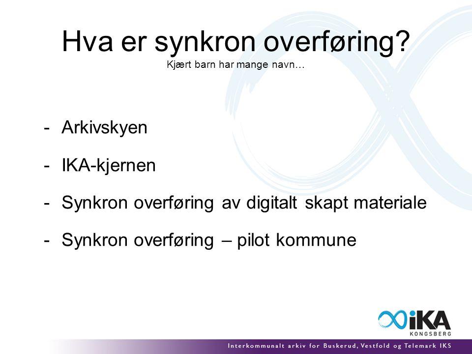 Hva er synkron overføring? Kjært barn har mange navn… -Arkivskyen -IKA-kjernen -Synkron overføring av digitalt skapt materiale -Synkron overføring – p