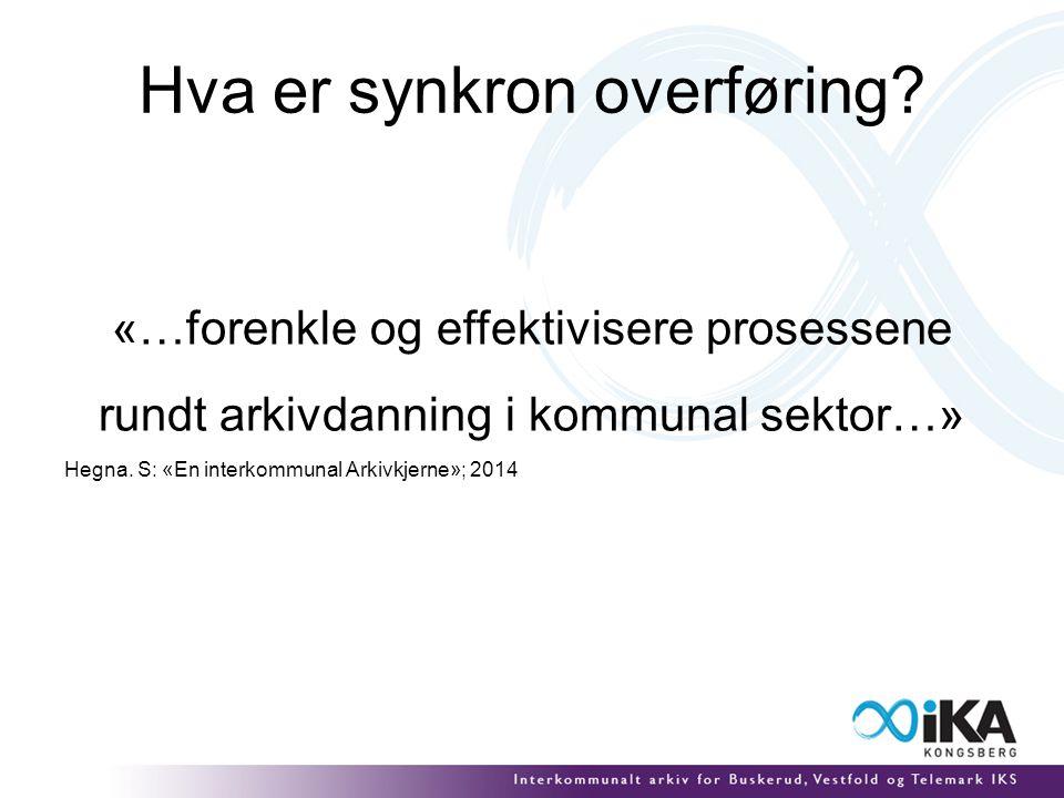 Hva er synkron overføring? «… forenkle og effektivisere prosessene rundt arkivdanning i kommunal sektor…» Hegna. S: «En interkommunal Arkivkjerne»; 20