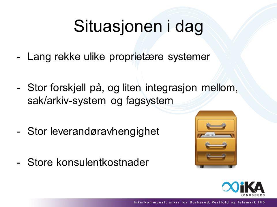 Situasjonen i dag -Lang rekke ulike proprietære systemer -Stor forskjell på, og liten integrasjon mellom, sak/arkiv-system og fagsystem -Stor leverandøravhengighet -Store konsulentkostnader