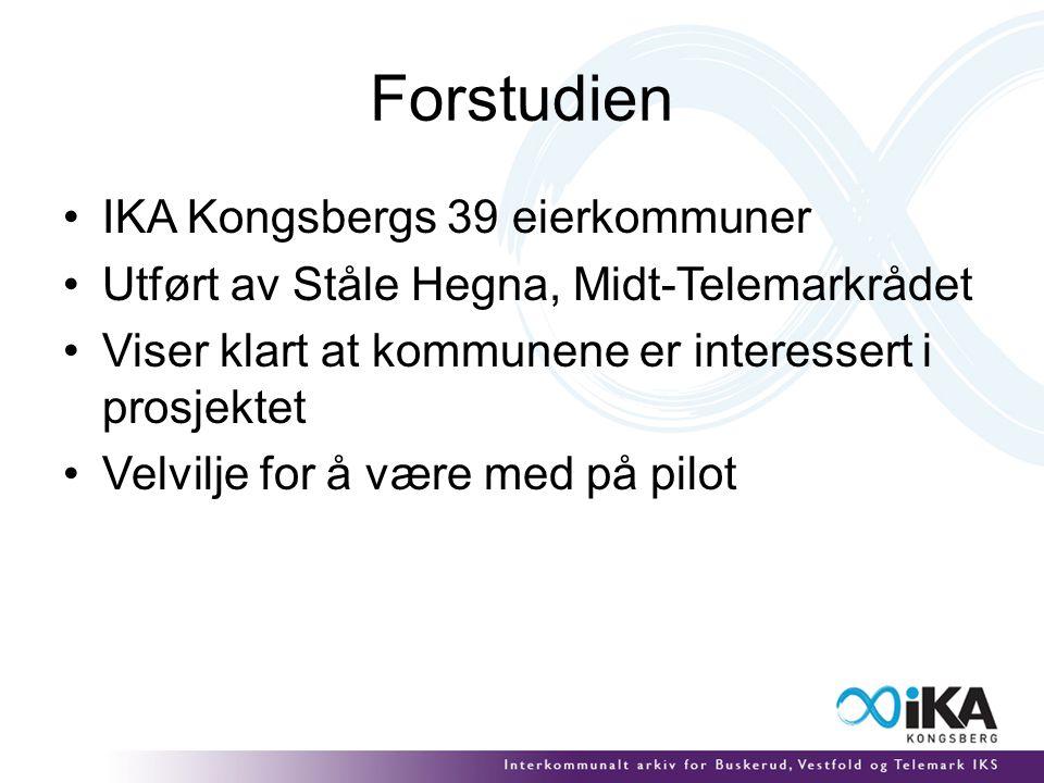 Forstudien IKA Kongsbergs 39 eierkommuner Utført av Ståle Hegna, Midt-Telemarkrådet Viser klart at kommunene er interessert i prosjektet Velvilje for å være med på pilot
