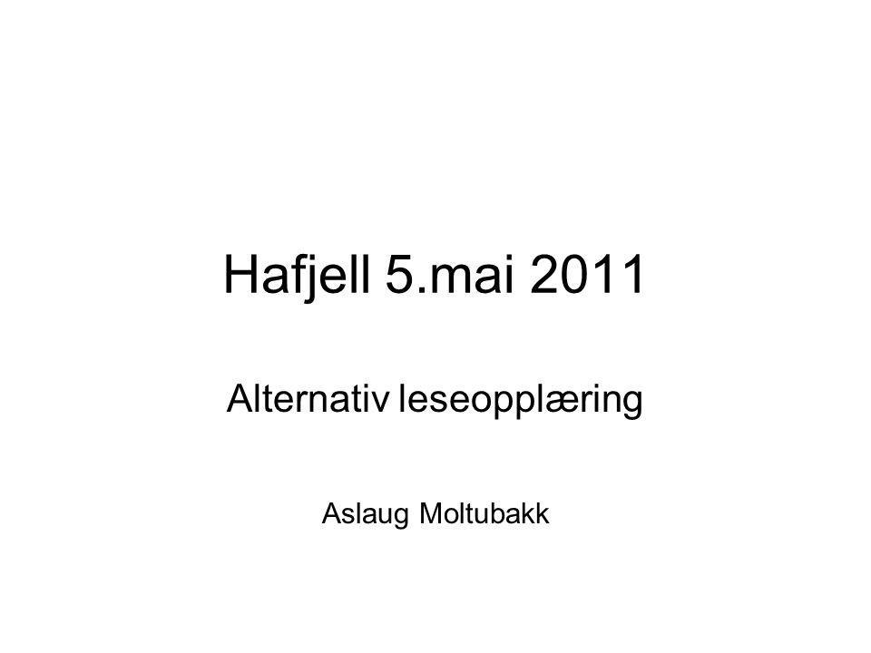Hafjell 5.mai 2011 Alternativ leseopplæring Aslaug Moltubakk