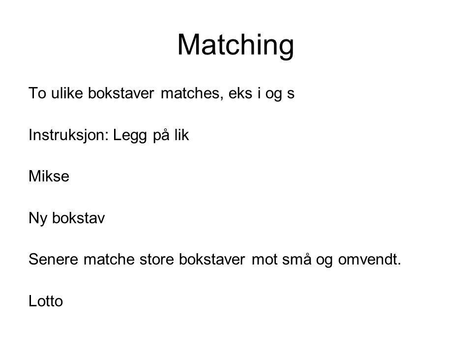 Matching To ulike bokstaver matches, eks i og s Instruksjon: Legg på lik Mikse Ny bokstav Senere matche store bokstaver mot små og omvendt. Lotto