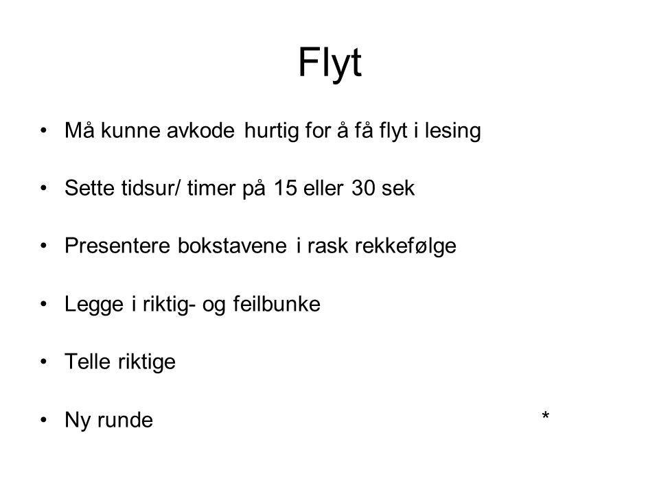 Flyt Må kunne avkode hurtig for å få flyt i lesing Sette tidsur/ timer på 15 eller 30 sek Presentere bokstavene i rask rekkefølge Legge i riktig- og f