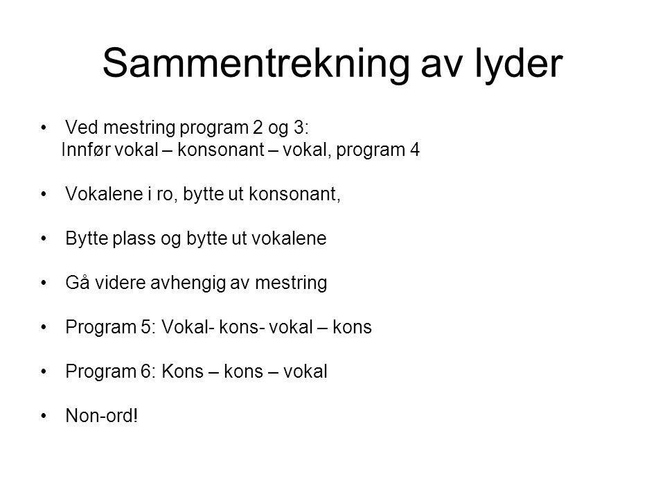 Sammentrekning av lyder Ved mestring program 2 og 3: Innfør vokal – konsonant – vokal, program 4 Vokalene i ro, bytte ut konsonant, Bytte plass og byt