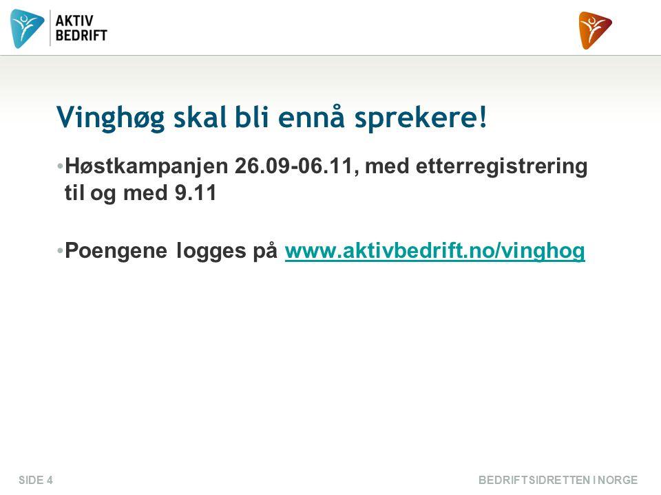 Vinghøg skal bli ennå sprekere! Høstkampanjen 26.09-06.11, med etterregistrering til og med 9.11 Poengene logges på www.aktivbedrift.no/vinghogwww.akt