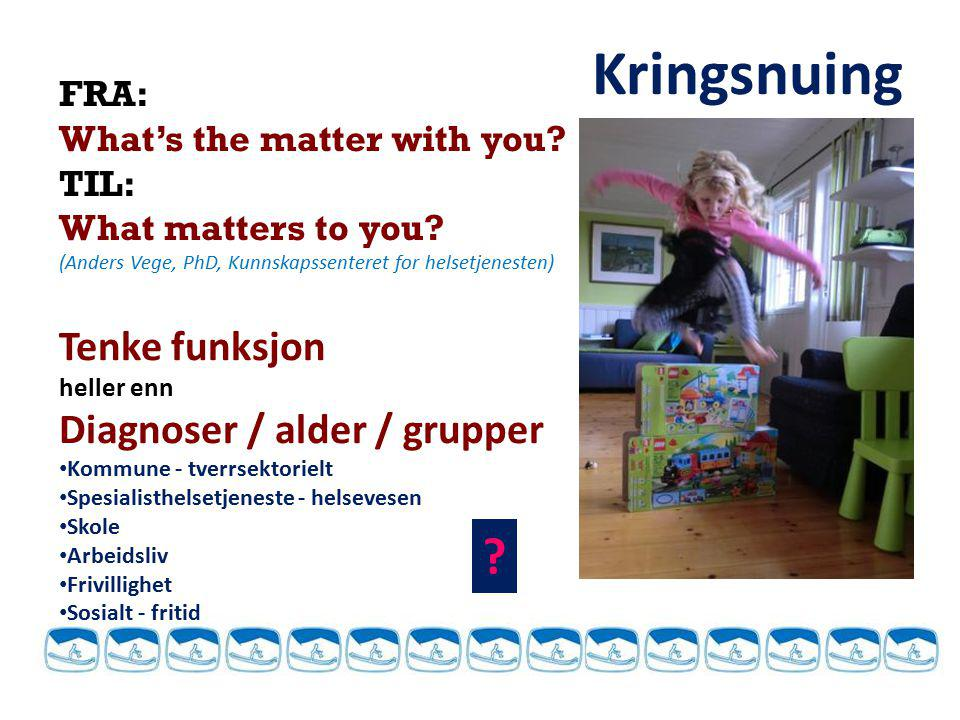 FRA: What's the matter with you? TIL: What matters to you? (Anders Vege, PhD, Kunnskapssenteret for helsetjenesten) Tenke funksjon heller enn Diagnose