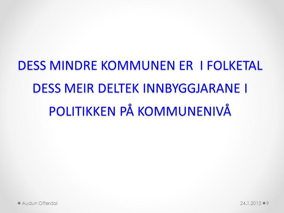DESS MINDRE KOMMUNEN ER I FOLKETAL DESS MEIR DELTEK INNBYGGJARANE I POLITIKKEN PÅ KOMMUNENIVÅ 24.1.2015Audun Offerdal9
