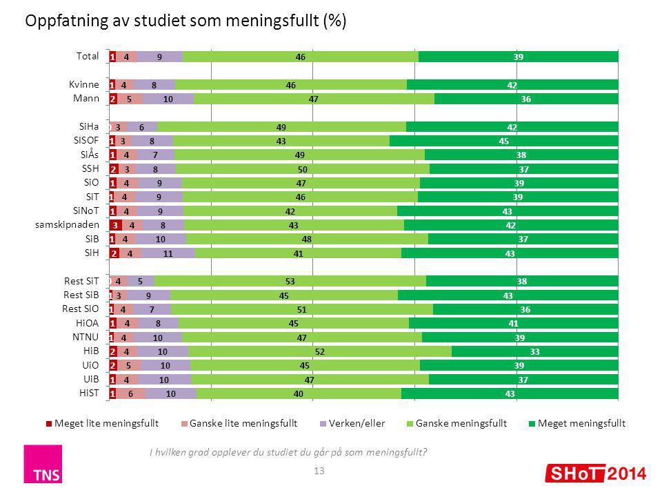 13 Oppfatning av studiet som meningsfullt (%) I hvilken grad opplever du studiet du går på som meningsfullt