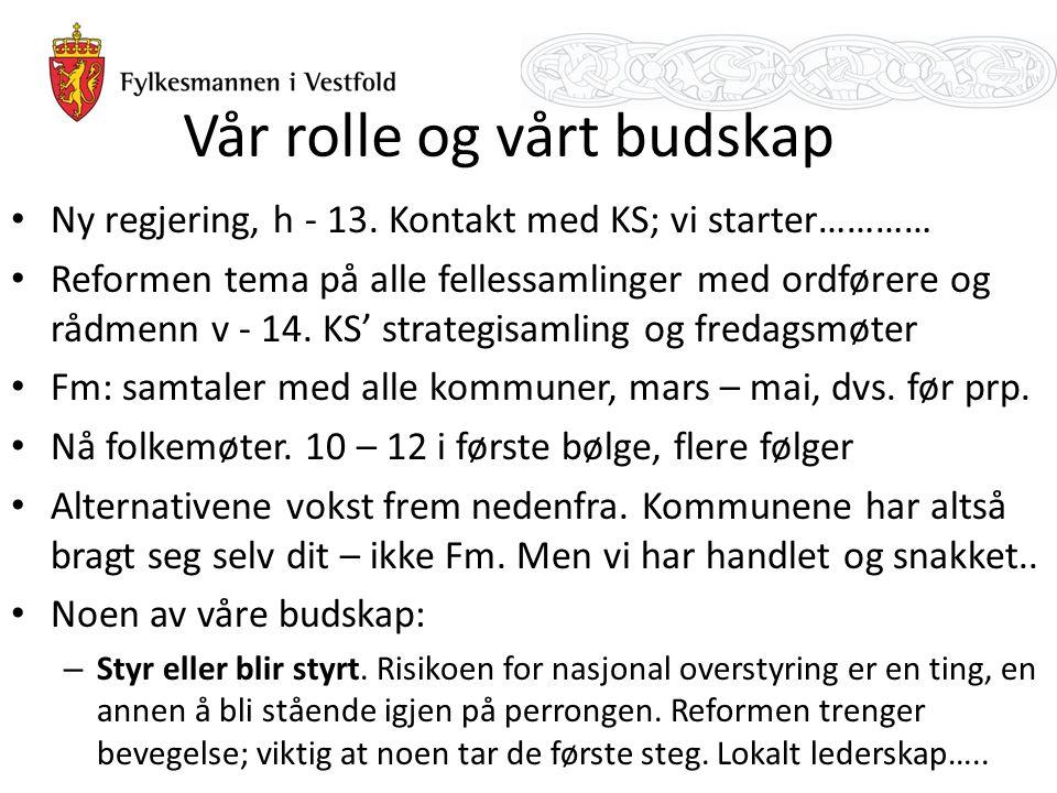 Vår rolle og vårt budskap Ny regjering, h - 13.
